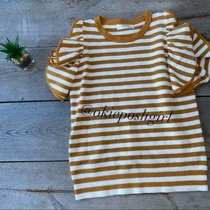 Anthropologie Gold White Striped Flutter Sleeves